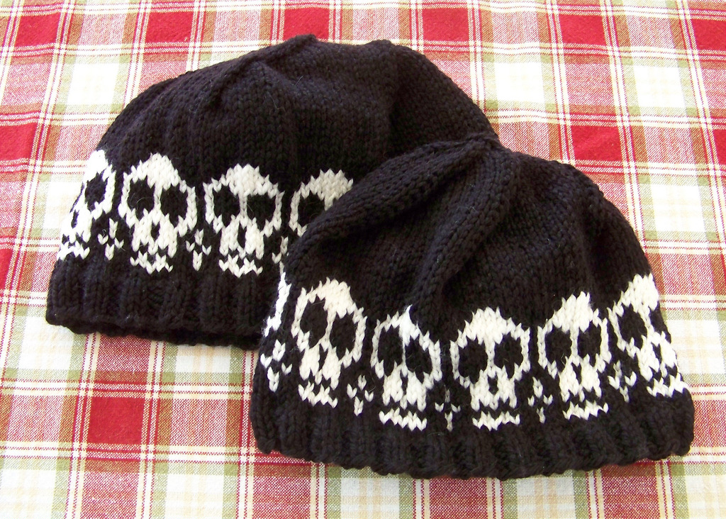 Knit skull cap pattern on circular needles for Halloween gift