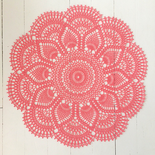 Pink Star Crocheted Doily