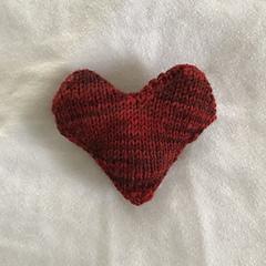 Heart in sock yarn on size 0 needles