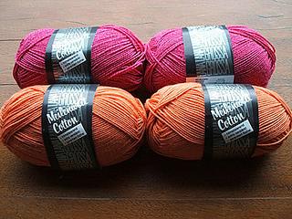 lana grossa meilenweit cotton, 55 pink and 42 orange