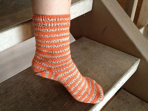 striped orange hand knitted sock
