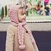 Pom-pom scarf with hoodie pattern