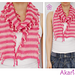 2 colors scarf with fringes and small pompoms_ C01 pattern
