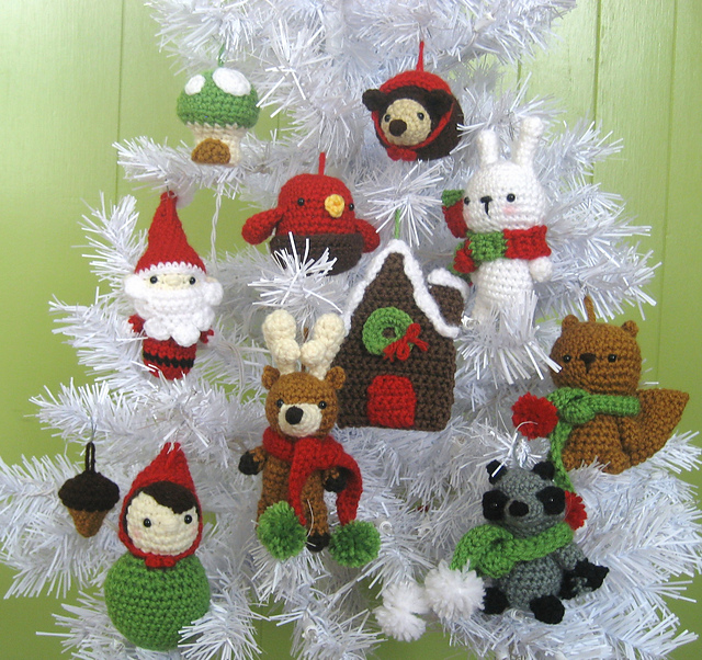 Crochet Christmas Ornaments Pattern.Woodland Christmas Ornament Crochet Pattern Set Pattern By Amy Gaines