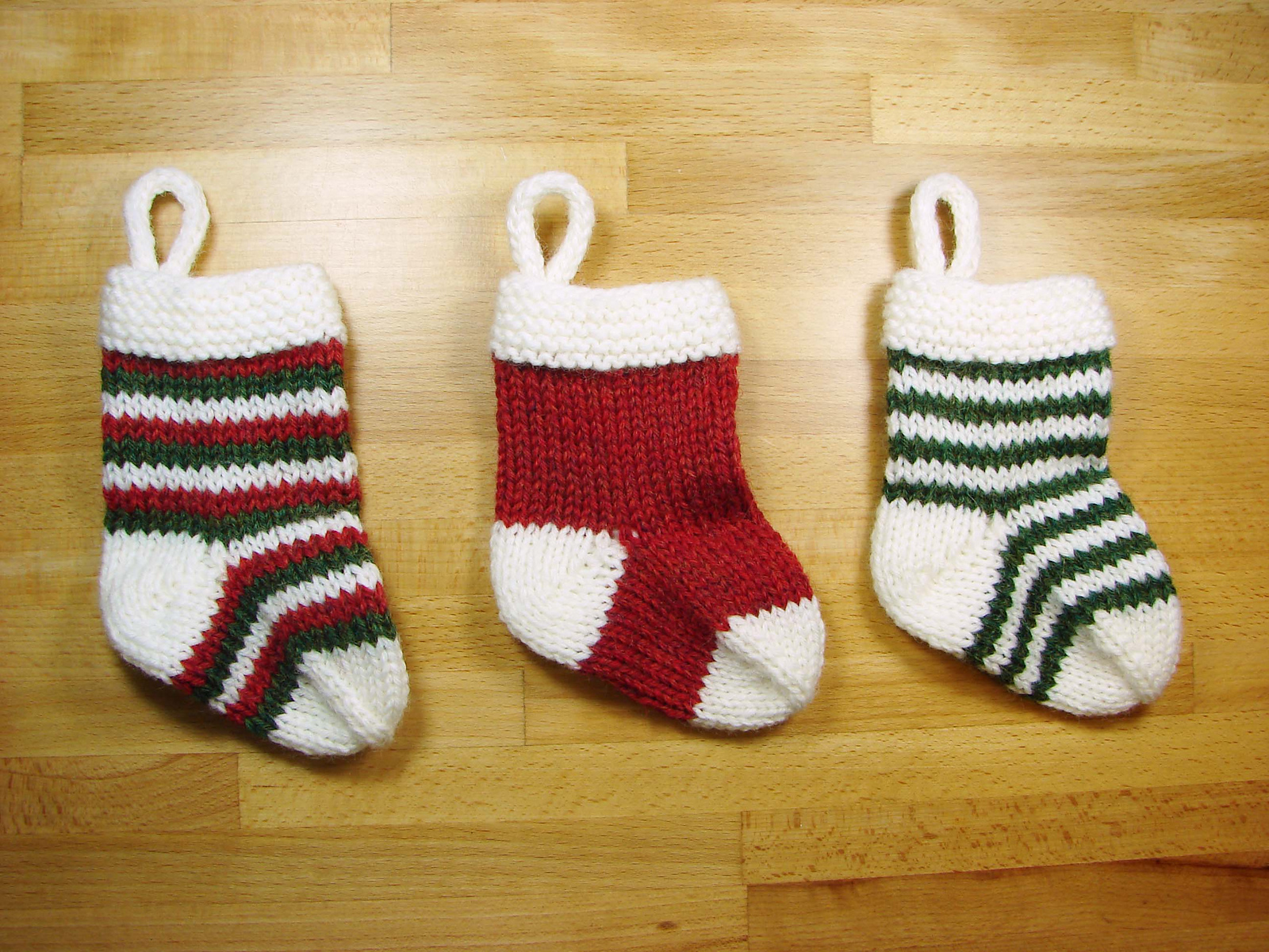 Knit this Mini stocking pattern in solids or stripes for a quick knitting project.