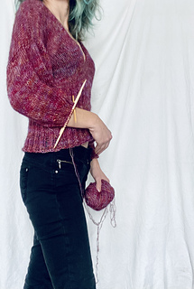 50s Slipover goes Sweater.  In Lichen and Lace Yarn, size L, longer lower body and puffy sleeves