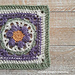 Boxed Violet Flower Square pattern