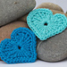 Modern crochet heart applique pattern