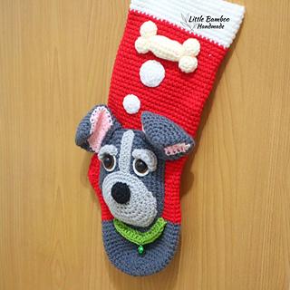 Dog Christmas Stocking.My Cute Dog Christmas Stocking Pattern By Little Bamboo Handmade