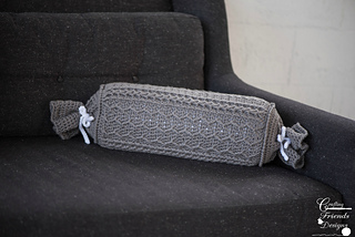 Cabled Zig Zag Bolster Pillow in Grey