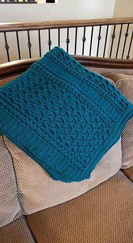 Cabled Zig Zag Throw Pattern test by Rebecca Cannon