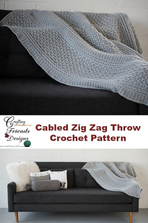 Cabled Zig Zag Throw with pillow collection