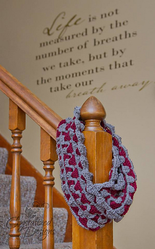 Mountain Lace Infinity Scarf crochet pattern test by Crystal