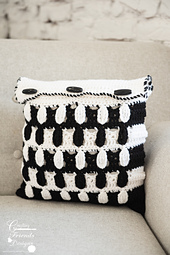 """Pebbled Archway Reversible 12""""x12"""" Square Pillow Cover crochet pattern"""
