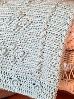Cabled Blooms Blanket