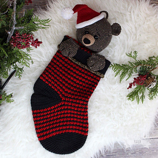 Bear Christmas Stocking.Woodland Christmas Stocking Bear Pattern By Croch Eh Patch