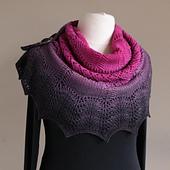 Sample knit in Wollelfe Merino Twin gradient yarn cake in colour way Drama