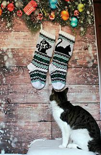 Cat Christmas Stockings.Cat Christmas Stockings Pattern By Gigi Knits