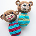Lil' Monkey and Bitty Bear Baby Rattle Toys pattern