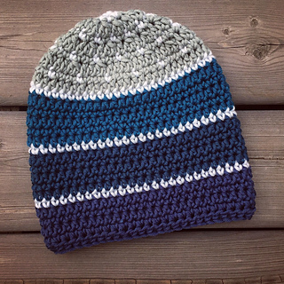 Color Swatch Beanie made with Caron x Pantone Yarn set in the Blueberry colourway