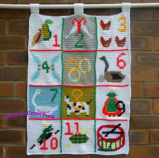 12 Days Of Christmas Cross Stitch.The Twelve Days Of Christmas Wall Hanging Pattern By Itchycrochet