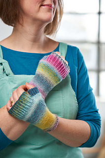 Learn to work a folded hem while knitting these adorable hand warmers.