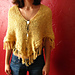 Triangle Shawl/Poncho with Knit-on Cable Fringe pattern
