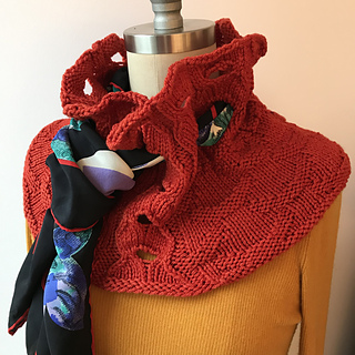 Front view of Ormt in Red! with vintage scarf.