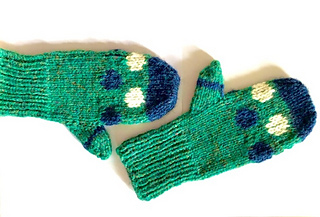 Pair of Mari Mitts in child size large/women's small, knit in green, blue and white