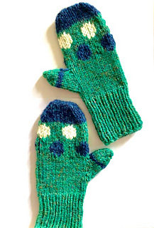 Pair of Mari Mitts in child size large, knit in green, blue and white