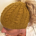 Cabled Messy Bun Hat pattern