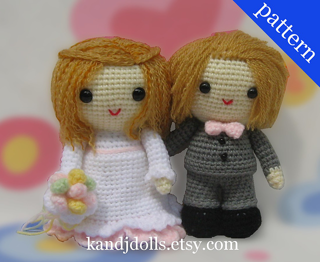 Crochet pattern wedding bride groom couple ruffle dress amigurumi | 524x640