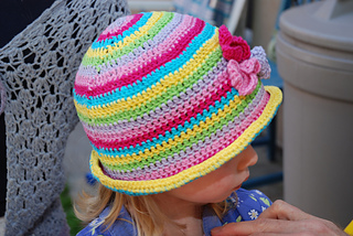 Rowan's rainbow hat