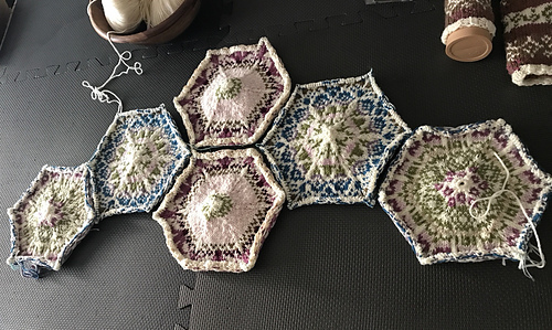 Six down. Will block and seam these and then continue on