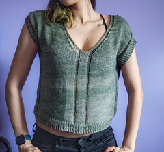 """45"""" garment on 33"""" chest, body length knit to 10.5"""" before upper body split."""