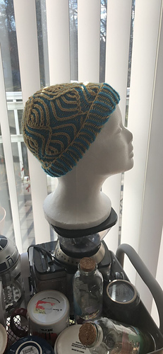 Hat  shown is Small Size on size 4 needles, 1 size smaller than pattern recommended.