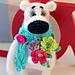 Polar bear with a bouquet pattern