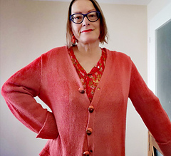 Casual Cardigan in Coral Front view with Dress