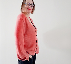 Casual Cardigan in Silky Coral from the side