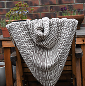 Counterchange shawl DK showing both sides and draping.