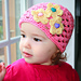 Pink baby to adult hat with flowers pattern