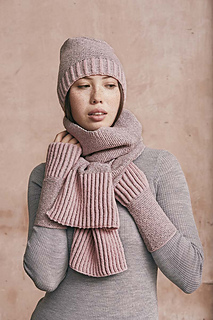 Pattern is for fingerless gloves. Shown with Twice as Nice Scarf and Gimme Rose Hat.