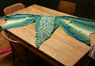 The shawl in Changeling Coloured Yarns: Sea Dragon sock yarn