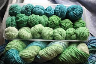 Changeling Coloured Yarns: Sea Dragon sock yarn.