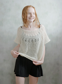 worn with about 45 cm positive ease, knitted with mohair lace weight & alpaca lace weight yarn.