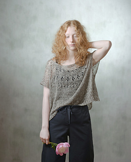 worn with about 47 cm positive ease, knitted with silk tweed yarn.