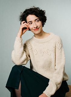 "Lamb wool, undyed white, size S, smaller neckline, 16 cm / 6.5"" positive ease"