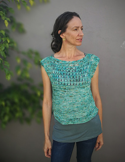 "Size 42"" shown on a 34"" model. Knit with Miss La Motte Singles-Linum"