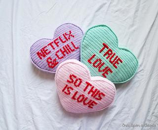 Candy Heart Pillow Crochet Pattern by Onceuponacheerio