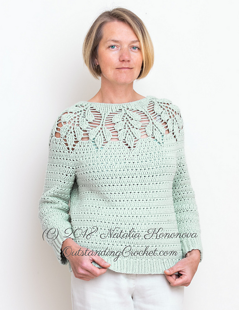 Leaf Yoke Sweater pattern by Natalia Kononova